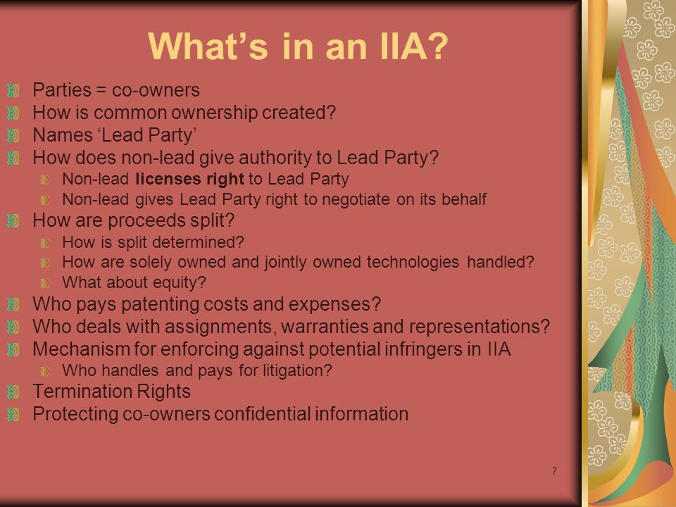 38 IP Ownership & Licenses ~ Provider Wants To own everything that comes from Material Non-exclusive license to make, use and sell Recipient Wants Ownership determined by US Patent Law What I invent, I own … Wants to only grant non-exclusive license for internal, research purposes + option to negotiate royalty-bearing exclusive license Needs to retain license to use invention for internal research purposes only + retain publication rights