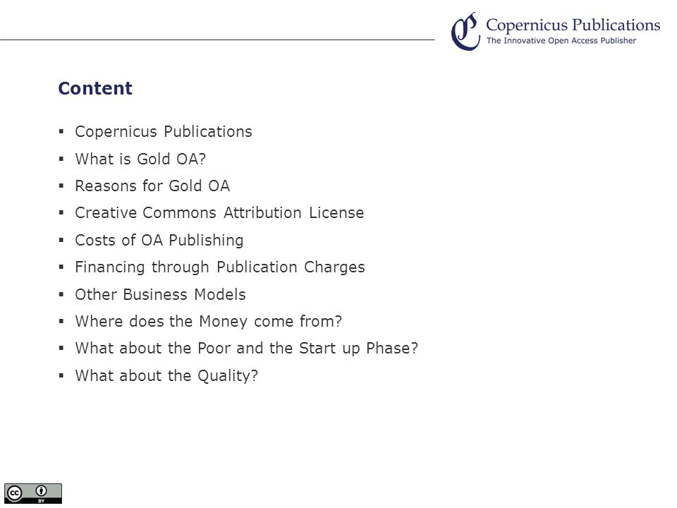 Content Copernicus Publications What is Gold OA.