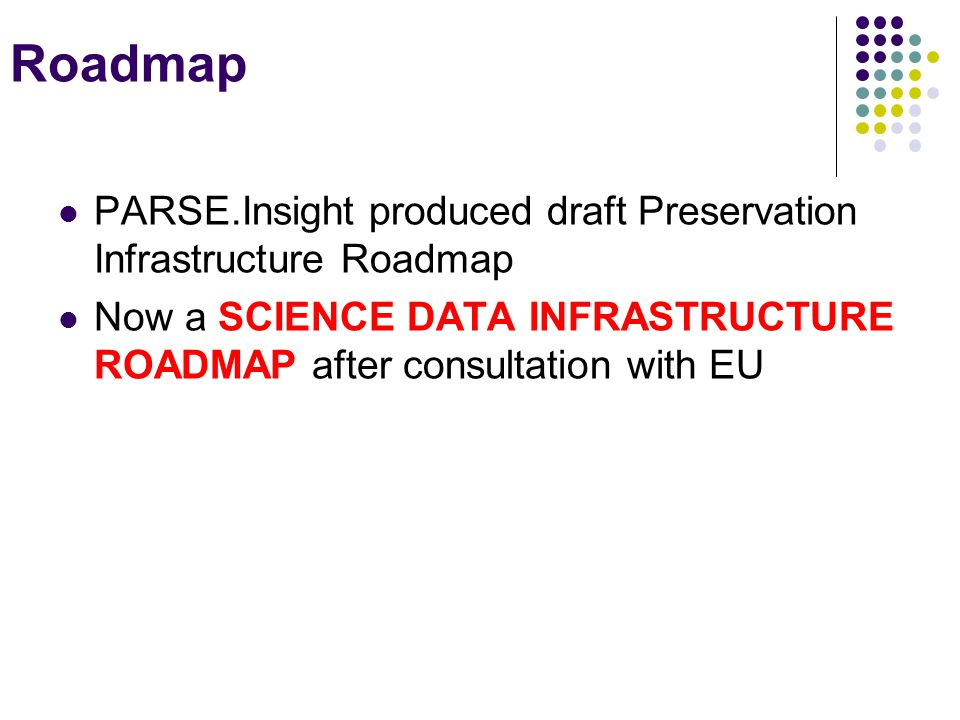 Roadmap PARSE.Insight produced draft Preservation Infrastructure Roadmap Now a SCIENCE DATA INFRASTRUCTURE ROADMAP after consultation with EU