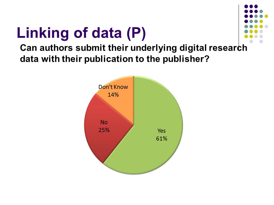 Linking of data (P) Can authors submit their underlying digital research data with their publication to the publisher