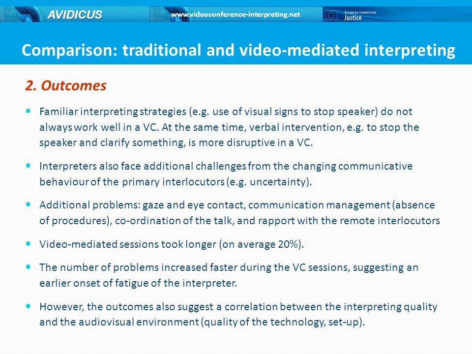 www.videoconference-interpreting.net AVIDICUS 2.Outcomes Familiar interpreting strategies (e.g.