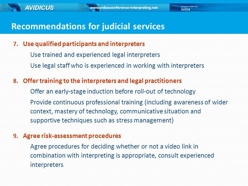 www.videoconference-interpreting.net AVIDICUS 7.