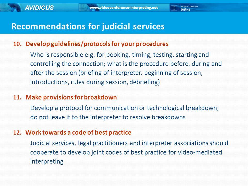 www.videoconference-interpreting.net AVIDICUS 10.