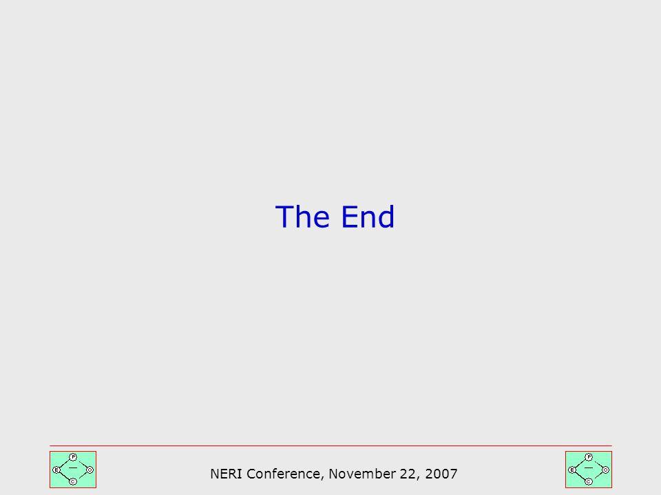 NERI Conference, November 22, 2007 The End