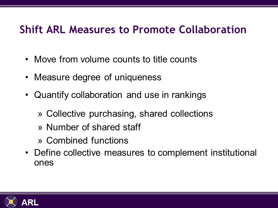 ARL Shift ARL Measures to Promote Collaboration Move from volume counts to title counts Measure degree of uniqueness Quantify collaboration and use in rankings »Collective purchasing, shared collections »Number of shared staff »Combined functions Define collective measures to complement institutional ones