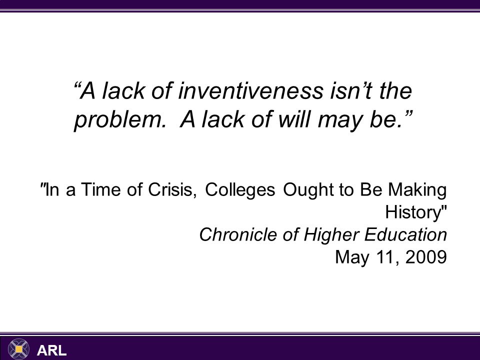 ARL A lack of inventiveness isnt the problem. A lack of will may be.