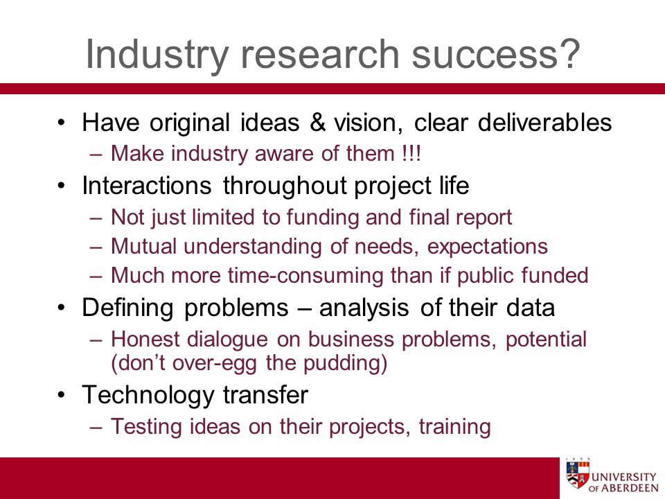 Industry research success.