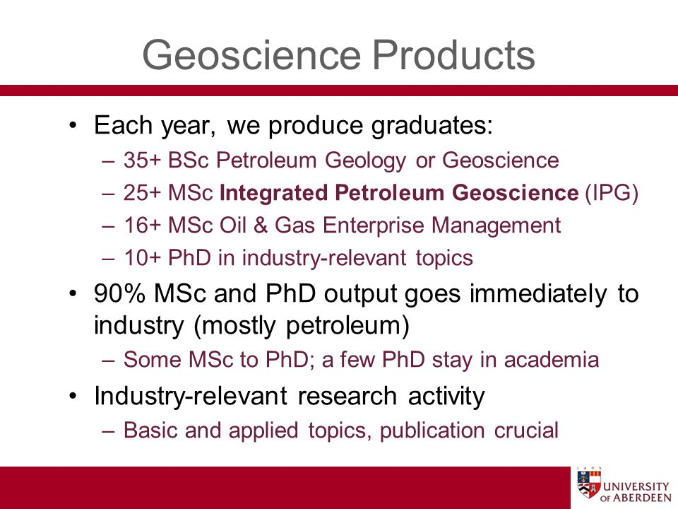Geoscience Products US$ 8M annual research income –~75% industry (e.g.