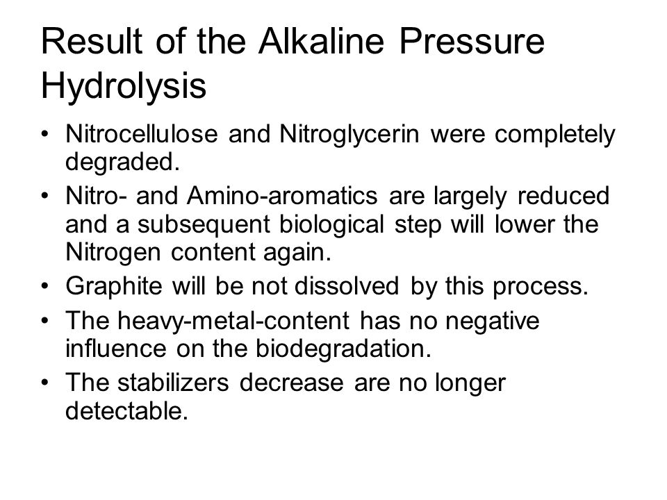 Result of the Alkaline Pressure Hydrolysis Nitrocellulose and Nitroglycerin were completely degraded.