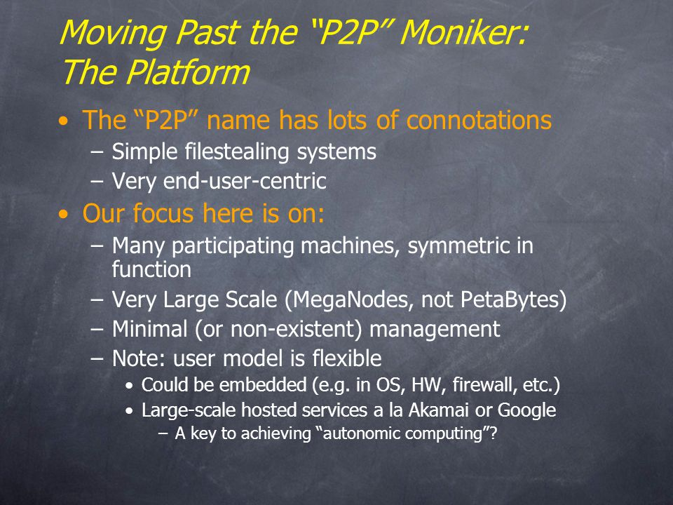 Early P2P II: Flooding on Overlays xyz.mp3 ? xyz.mp3 An overlay network. Unstructured.
