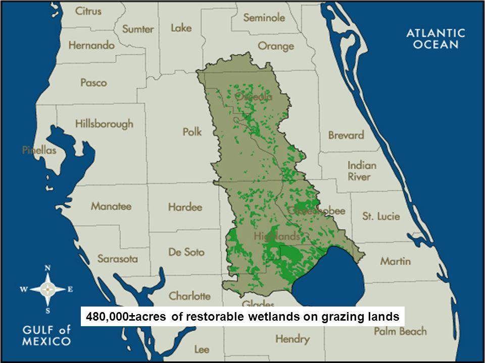 Restorable Wetlands 480,000±acres of restorable wetlands on grazing lands