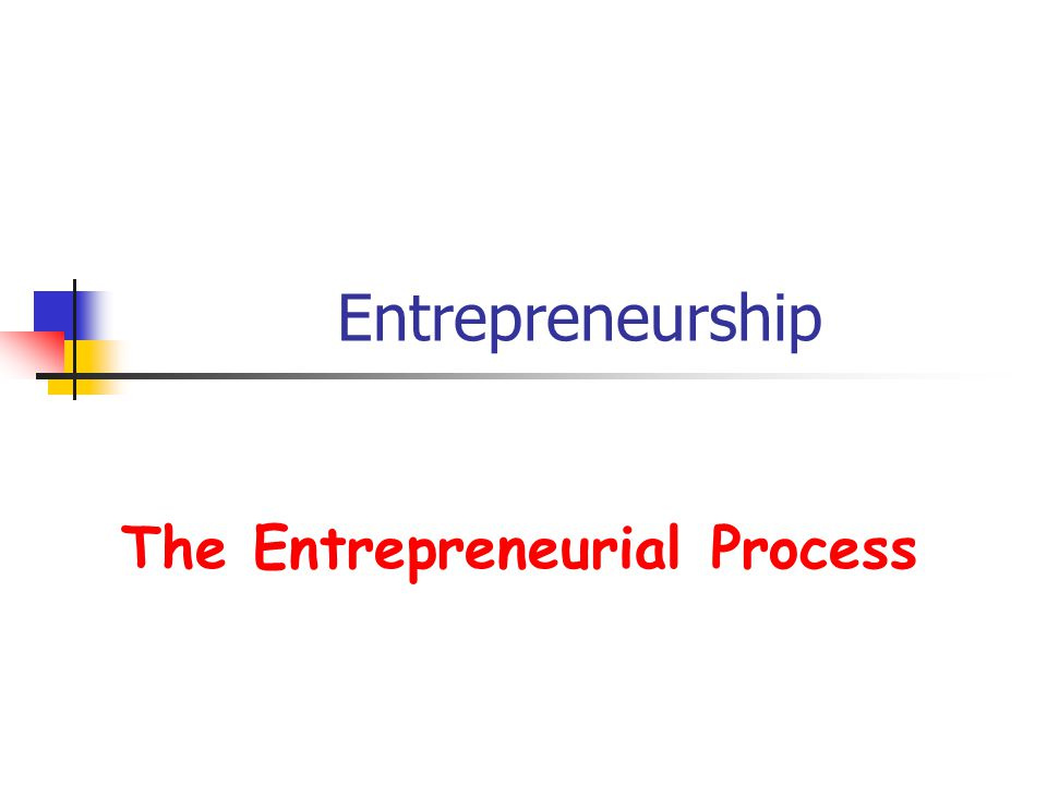 Entrepreneurship The Entrepreneurial Process