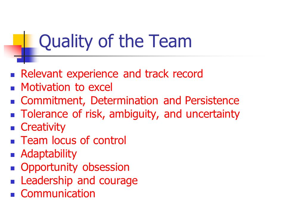 Quality of the Team Relevant experience and track record Motivation to excel Commitment, Determination and Persistence Tolerance of risk, ambiguity, and uncertainty Creativity Team locus of control Adaptability Opportunity obsession Leadership and courage Communication