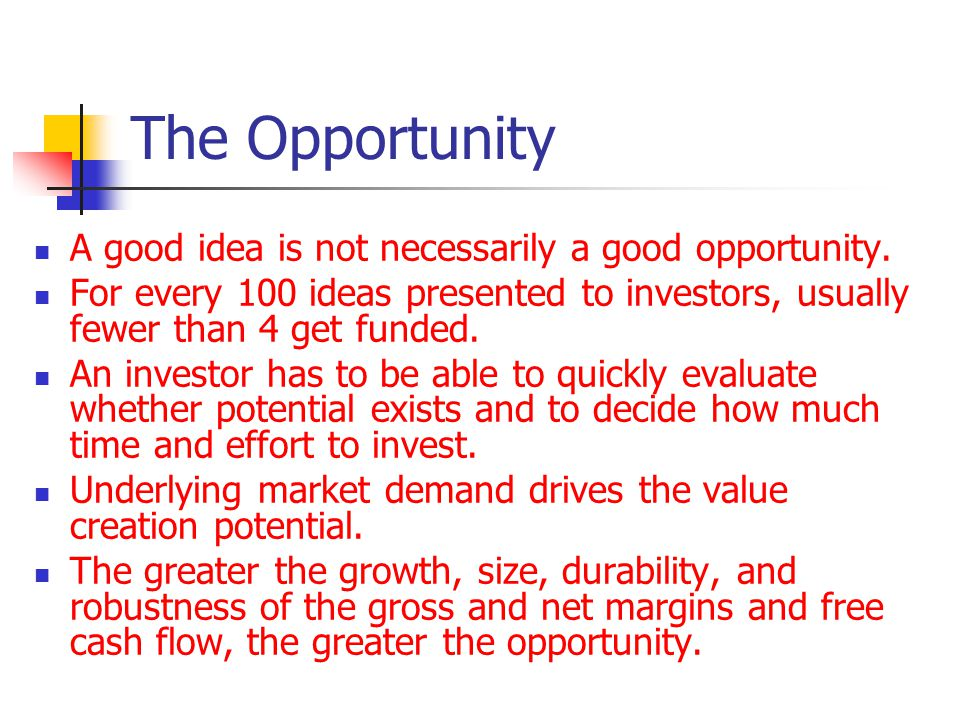 The Opportunity A good idea is not necessarily a good opportunity.