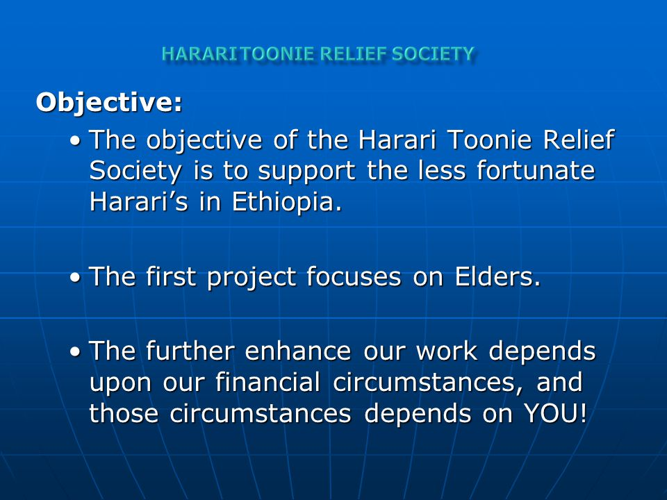 Mission: To provide food and other basic needs for the elderly (Senior).