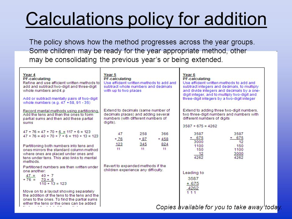 Calculations policy for addition The policy shows how the method progresses across the year groups. Some children may be ready for the year appropriat