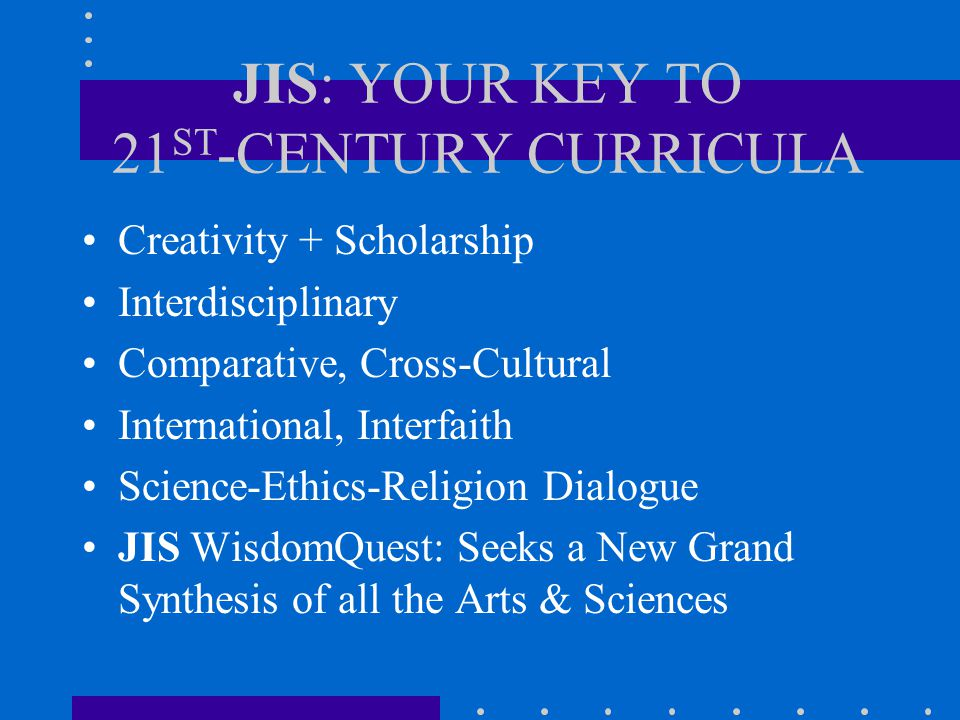 JIS I-XIII 1989-2001 I: 2001: The Future of Interdisciplinary Research (1989) II: Reformation II (1990) III: Christian Political Economy (1991) IV: The Rediscovery of America & Europe (1992) V: The Unity of the Arts & Sciences (1993) VI: Religious Resurgence in the Modern World (1994) VII: The Family (1995) VIII: The City in the 21st Century (1996) IX: The Quest for the Holy Grail (1997) X: Beyond Culture Wars.