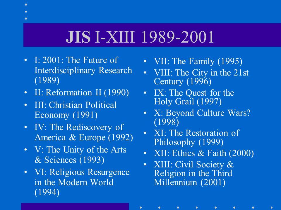 JIS XIV-XXV 2002-2013 XIV: Re-Inventing Liberal Arts Education (2002) XV: Toward a Culture of Life (2003) XVI: Can the Market Be Moral.