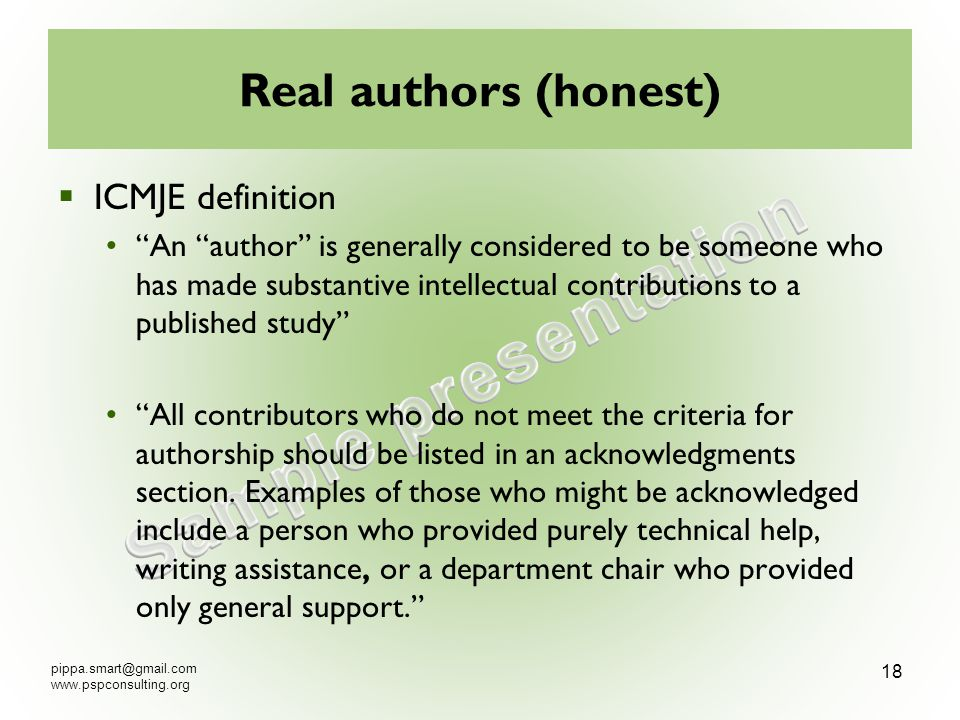 pippa.smart@gmail.com www.pspconsulting.org 19 2.4 How to keep good authors ?