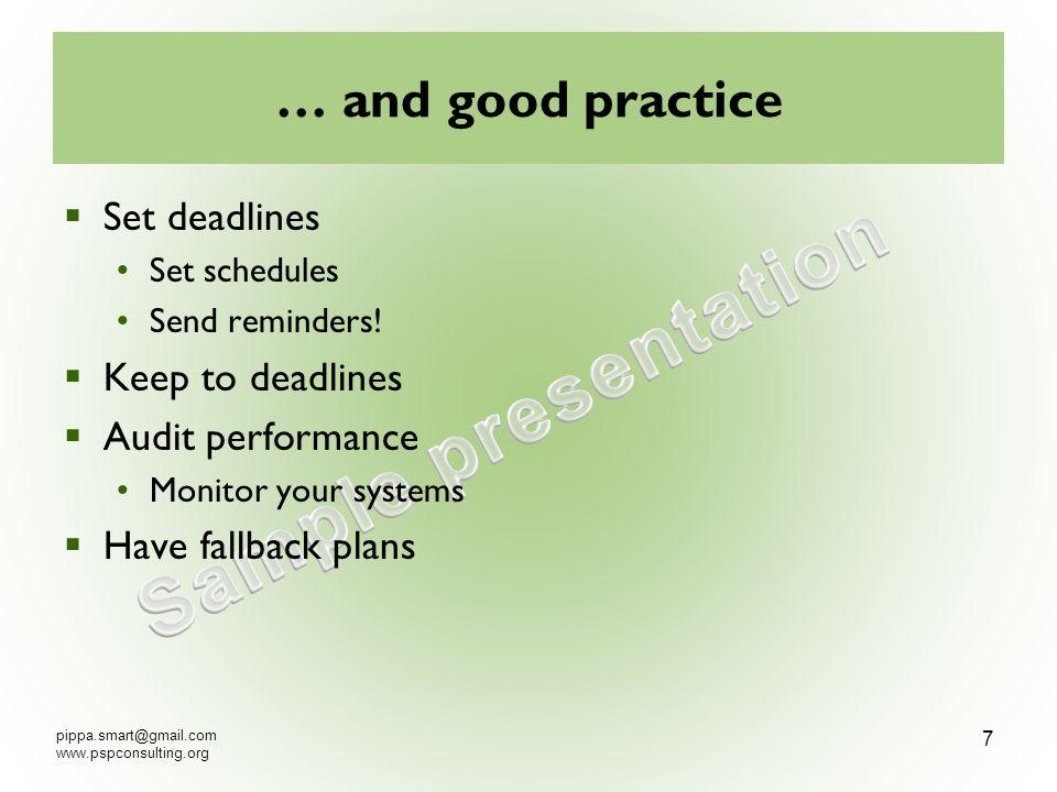 … and good practice Set deadlines Set schedules Send reminders.