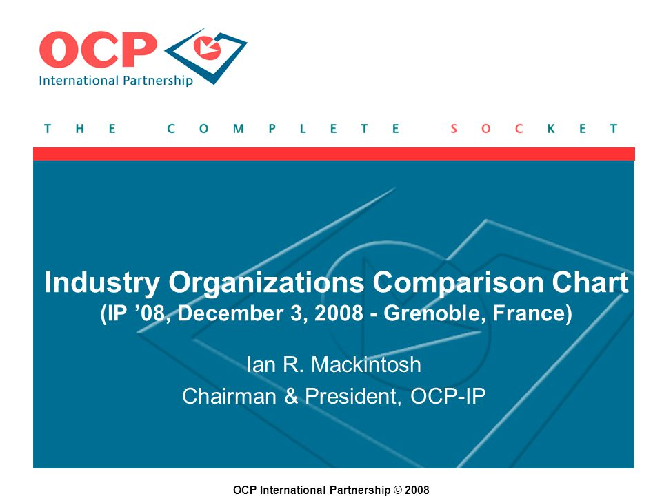 OCP International Partnership © 2008 Industry Organizations Comparison Chart (IP 08, December 3, 2008 - Grenoble, France) Ian R.