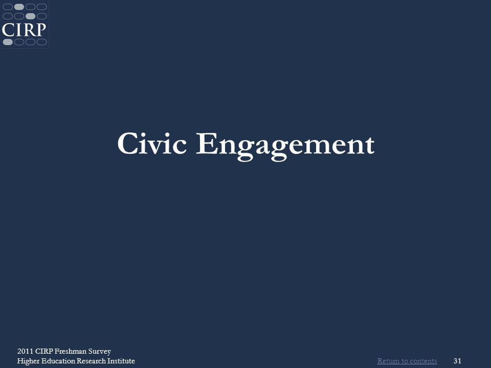 Return to contents 2011 CIRP Freshman Survey Higher Education Research Institute31 Civic Engagement