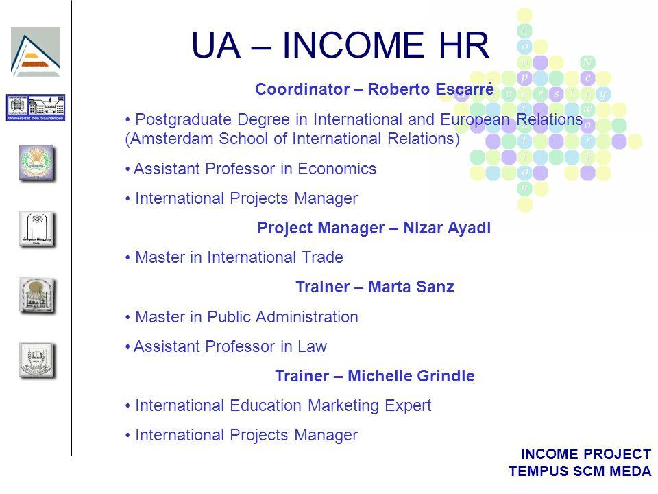 INCOME PROJECT TEMPUS SCM MEDA UA – INCOME HR Coordinator – Roberto Escarré Postgraduate Degree in International and European Relations (Amsterdam Sch