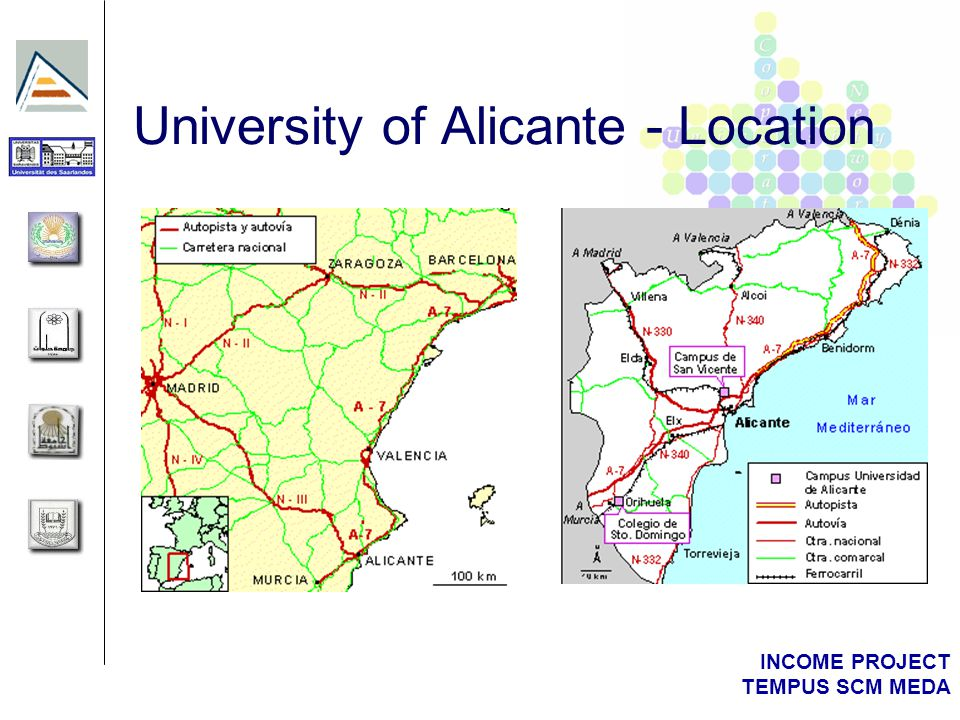 INCOME PROJECT TEMPUS SCM MEDA University of Alicante - Location