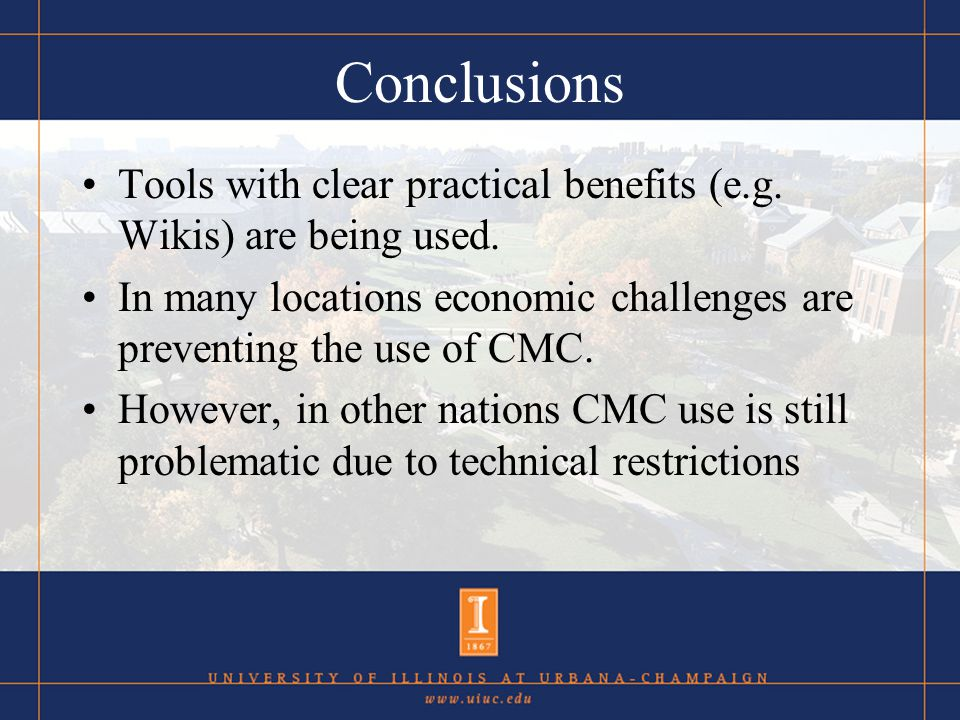 Conclusions Tools with clear practical benefits (e.g.