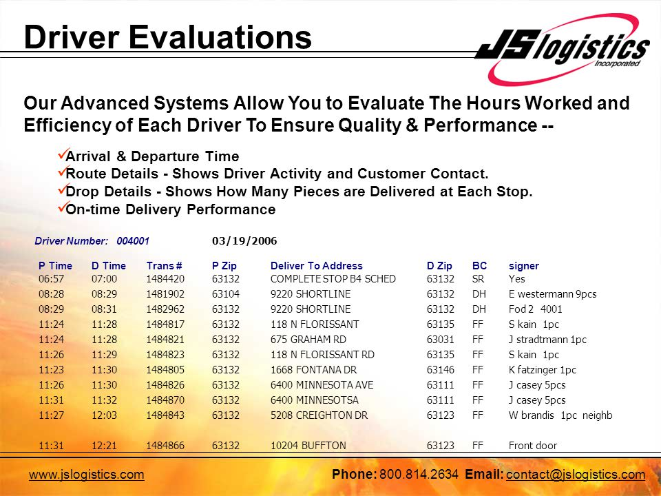 Driver Evaluations Our Advanced Systems Allow You to Evaluate The Hours Worked and Efficiency of Each Driver To Ensure Quality & Performance -- Arrival & Departure Time Route Details - Shows Driver Activity and Customer Contact.