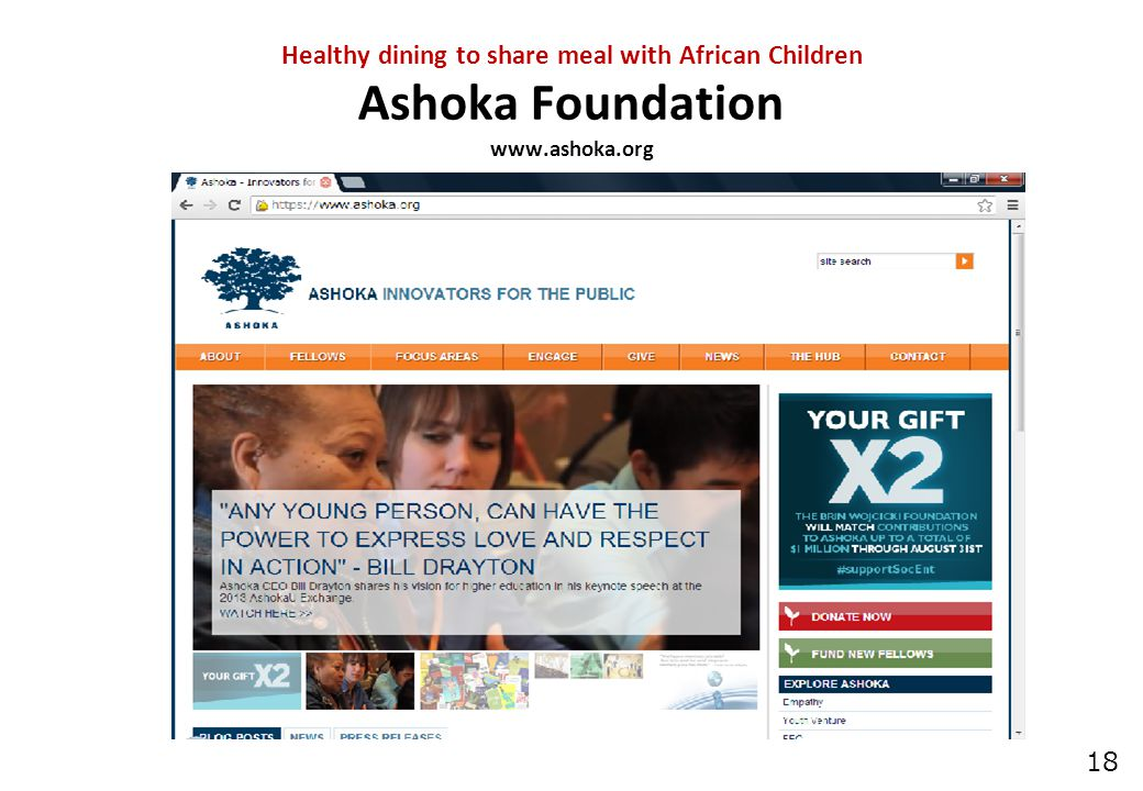 18 Healthy dining to share meal with African Children Ashoka Foundation www.ashoka.org