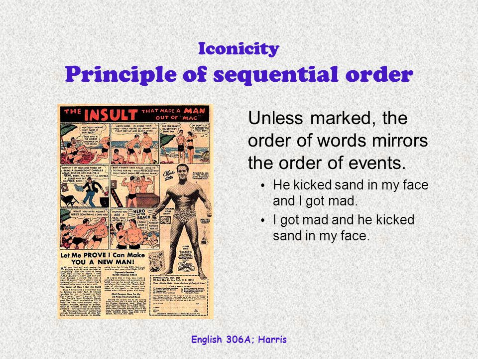English 306A; Harris Iconicity is metaphoric Defined by similarity (rather than association) Sequential order Dont drink and drive Distance Immediacy of action Quantity Reduplication