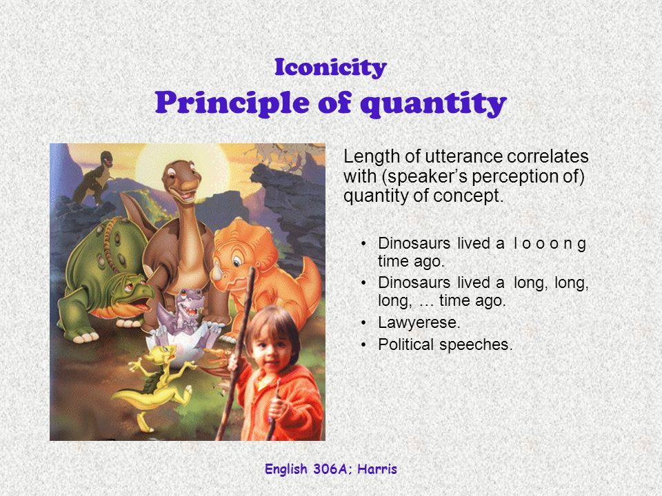 English 306A; Harris Iconicity Principle of distance Linguistic distance (proximity) tends to mirror conceptual distance.