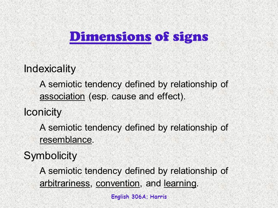 English 306A; Harris Dimensions of signs Indexicality A semiotic tendency defined by relationship of association (esp.