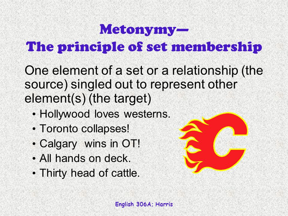 English 306A; Harris Metaphor and metonymy Indirect representation Something (called the source) carries the primary signification for something else (target) that ordinarily holds that signification.