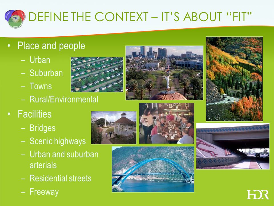 DEFINE THE CONTEXT – ITS ABOUT FIT Place and people –Urban –Suburban –Towns –Rural/Environmental Facilities –Bridges –Scenic highways –Urban and suburban arterials –Residential streets –Freeway