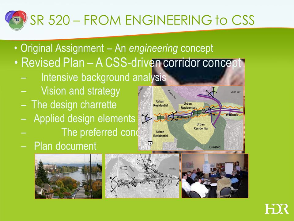 SR 520 – FROM ENGINEERING to CSS Original Assignment – An engineering concept Revised Plan – A CSS-driven corridor concept – Intensive background analysis – Vision and strategy – The design charrette – Applied design elements –The preferred concept – Plan document