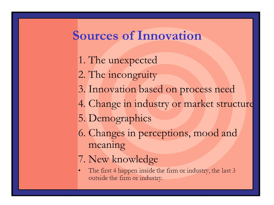 Sources of Innovation 1. The unexpected 2. The incongruity 3. Innovation based on process need 4. Change in industry or market structure 5. Demographi