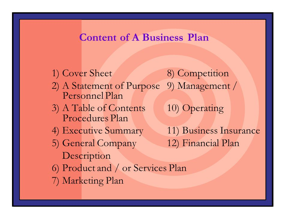 Content of A Business Plan 1) Cover Sheet8) Competition 2) A Statement of Purpose 9) Management / Personnel Plan 3) A Table of Contents10) Operating P
