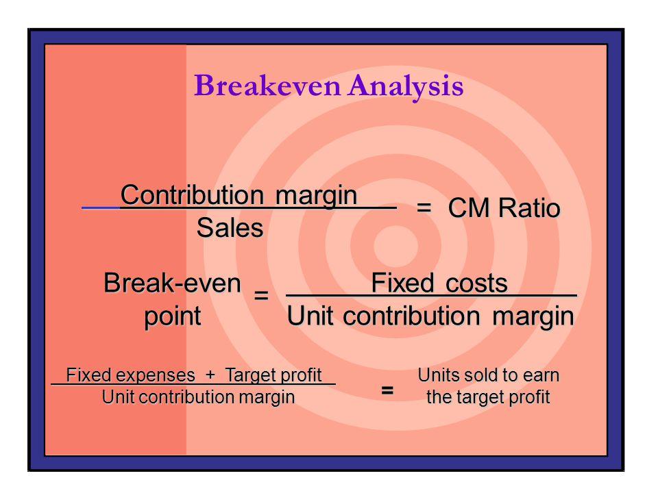 Breakeven AnalysisBreak-evenpoint= Fixed costs Fixed costs Unit contribution margin Fixed expenses + Target profit Fixed expenses + Target profit Unit