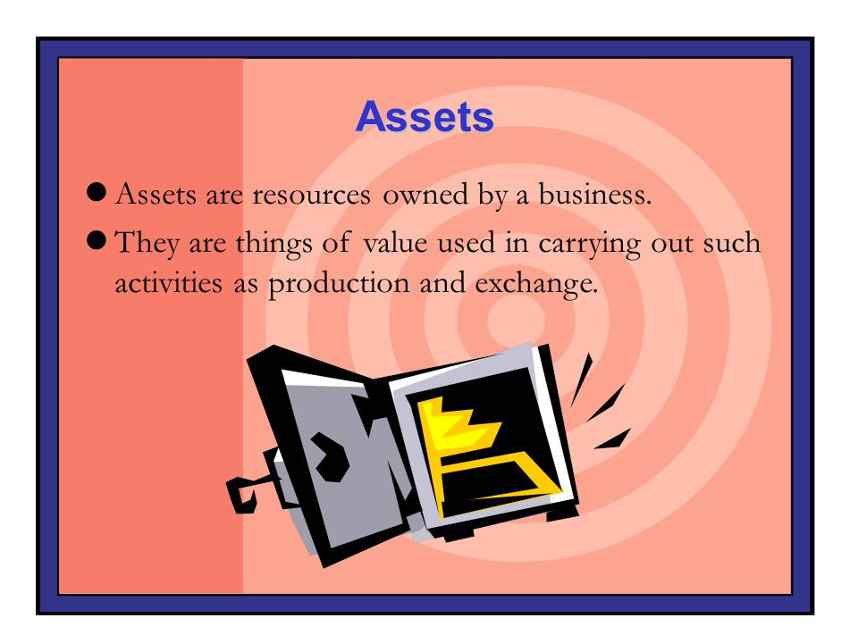 Assets Assets are resources owned by a business. They are things of value used in carrying out such activities as production and exchange.