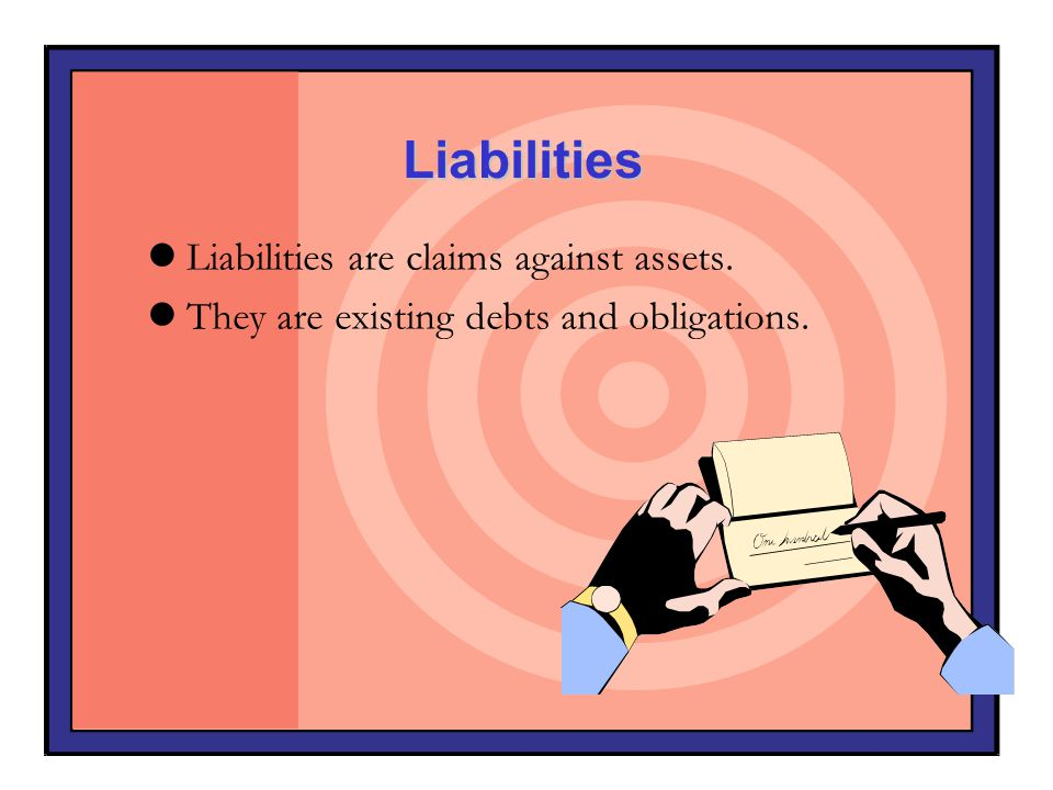 Liabilities Liabilities are claims against assets. They are existing debts and obligations.