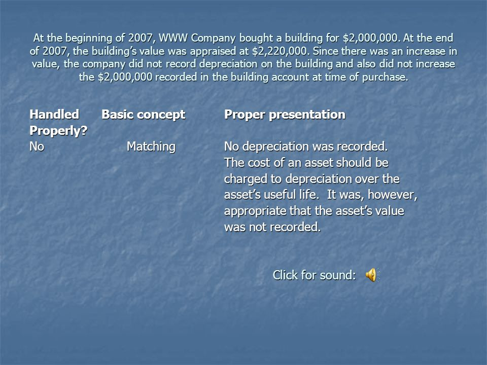 At the beginning of 2007, WWW Company bought a building for $2,000,000.