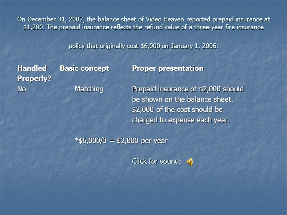 On December 31, 2007, the balance sheet of Video Heaven reported prepaid insurance at $1,200.