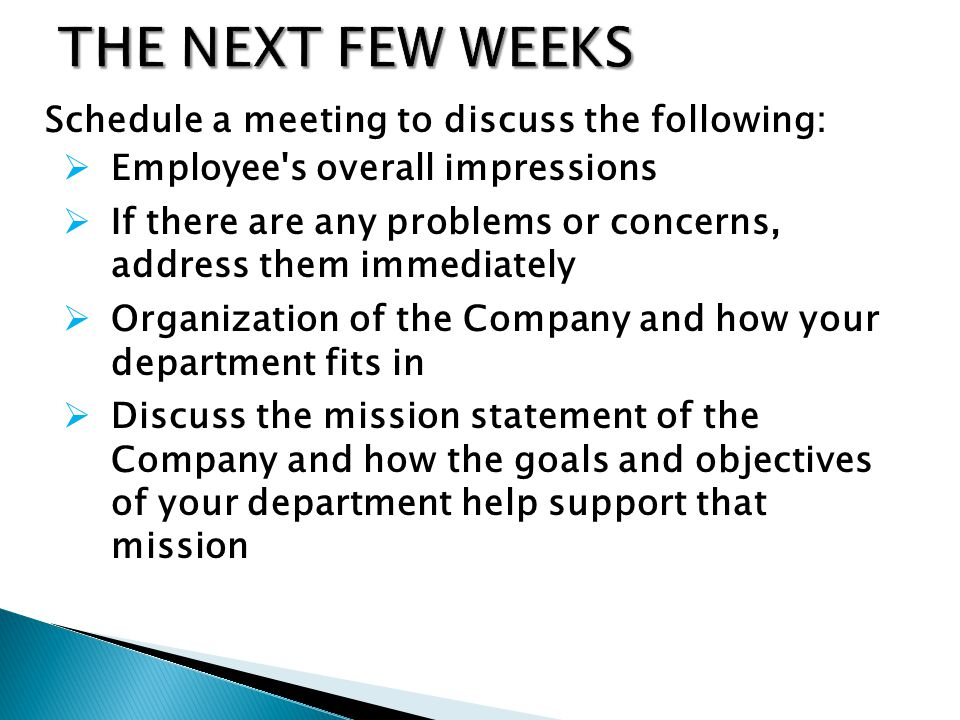 Schedule a meeting to discuss the following: Employee s overall impressions If there are any problems or concerns, address them immediately Organization of the Company and how your department fits in Discuss the mission statement of the Company and how the goals and objectives of your department help support that mission