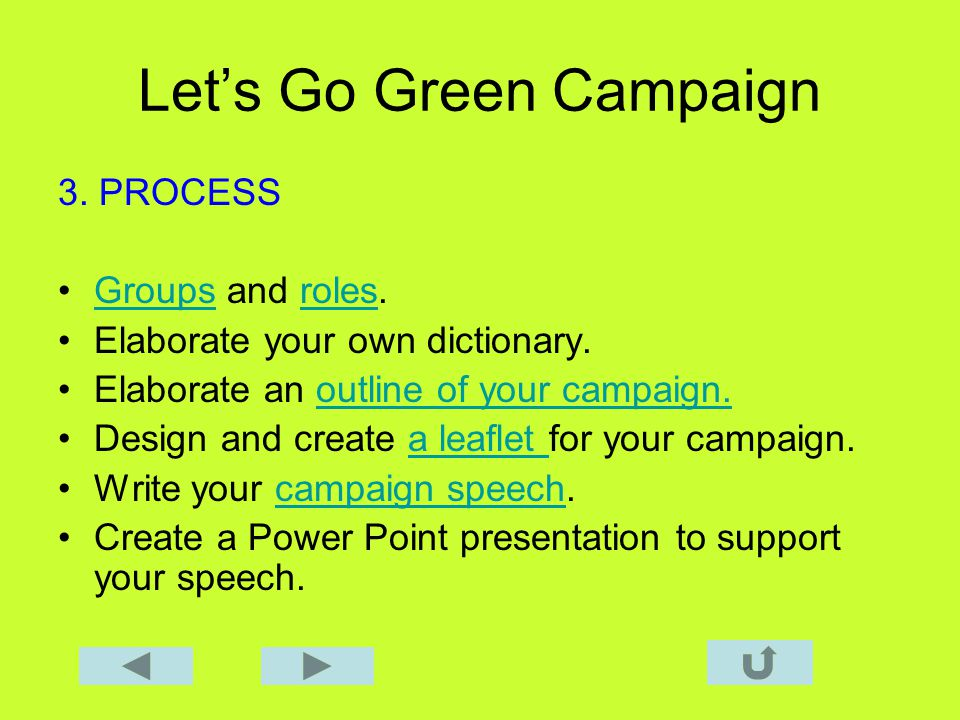 Lets Go Green Campaign 3. PROCESS Groups and roles.Groupsroles Elaborate your own dictionary.