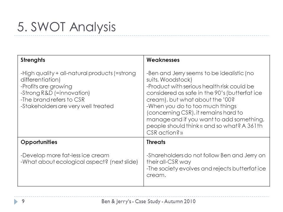 5. SWOT Analysis 9Ben & Jerry's - Case Study - Autumn 2010 Strenghts -High quality + all-natural products (=strong differentiation) -Profits are growi