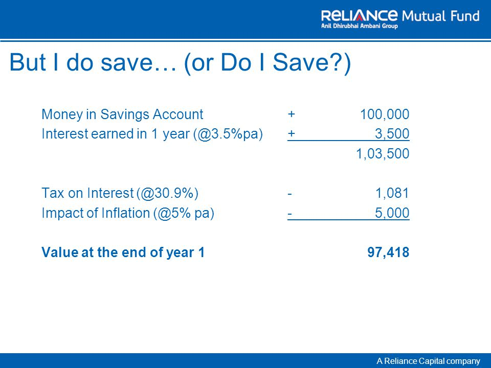 A Reliance Capital company But I do save… (or Do I Save ) Money in Savings Account+100,000 Interest earned in 1 year (@3.5%pa)+3,500 1,03,500 Tax on Interest (@30.9%)-1,081 Impact of Inflation (@5% pa)-5,000 Value at the end of year 197,418