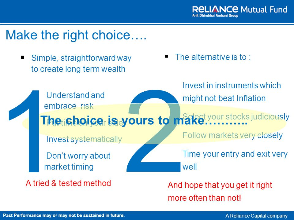 A Reliance Capital company Simple, straightforward way to create long term wealth Understand and embrace risk Put time on your side Invest systematically Dont worry about market timing A tried & tested method 2 Make the right choice….