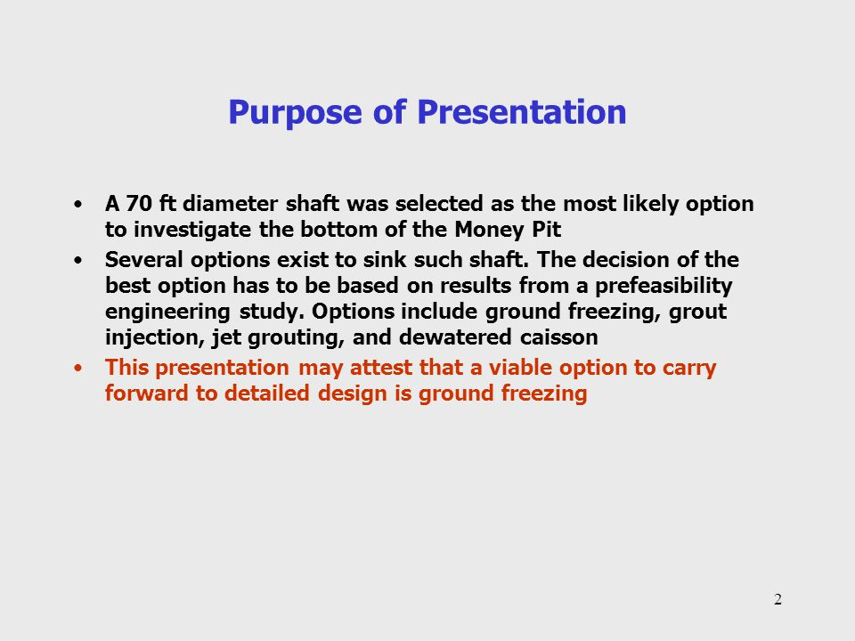 3 Outline of Presentation 1.Concept of the ground freezing (freeze ring) approach to shaft excavation 2.Case History 1 – Mill Creek Cleveland, Ohio 3.Case History 2 – Aquarius Open Pit Timmins, Ontario 4.Freeze ring concept for Oak Island shaft 5.Conclusions